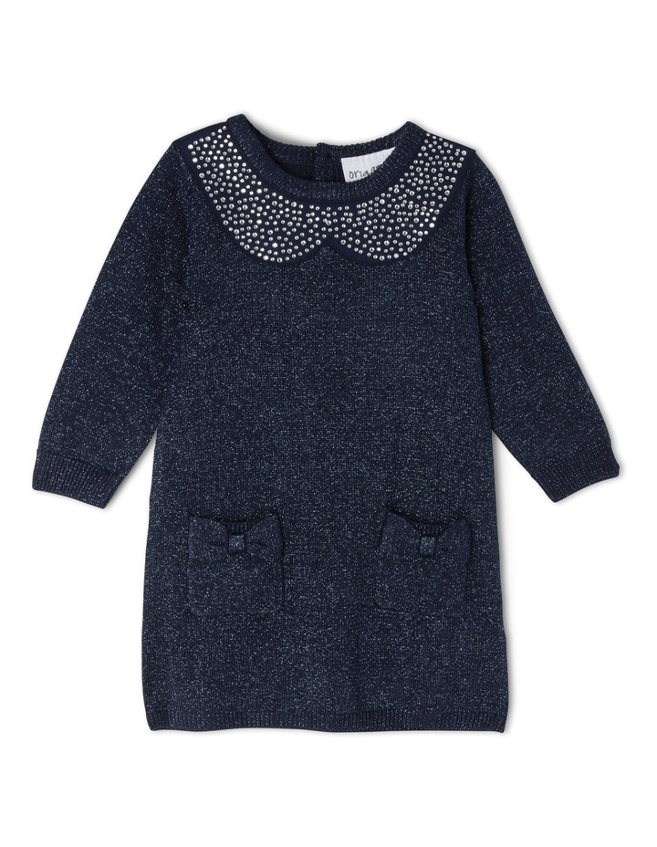 TG NAVY FF KNIT DRESS WITH DIAMONTE COLLAR 0-2 image 1