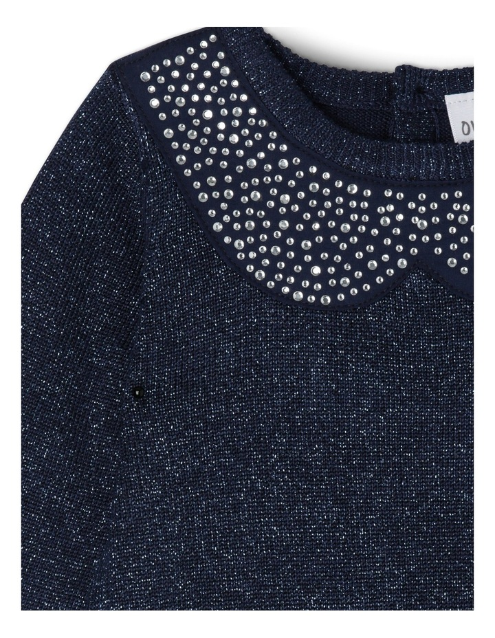 TG NAVY FF KNIT DRESS WITH DIAMONTE COLLAR 0-2 image 2