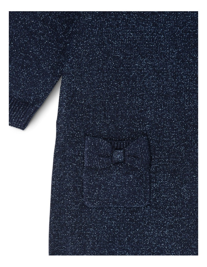 TG NAVY FF KNIT DRESS WITH DIAMONTE COLLAR 0-2 image 3