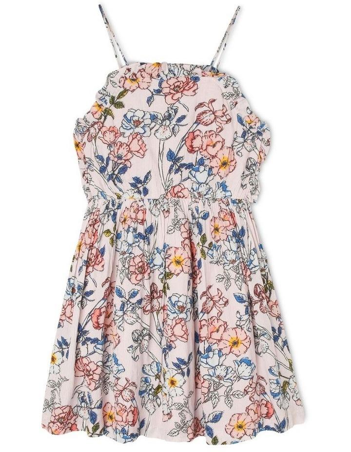 High-Neck Frill Bodice Yoryu Dress - Floral/Pink image 1