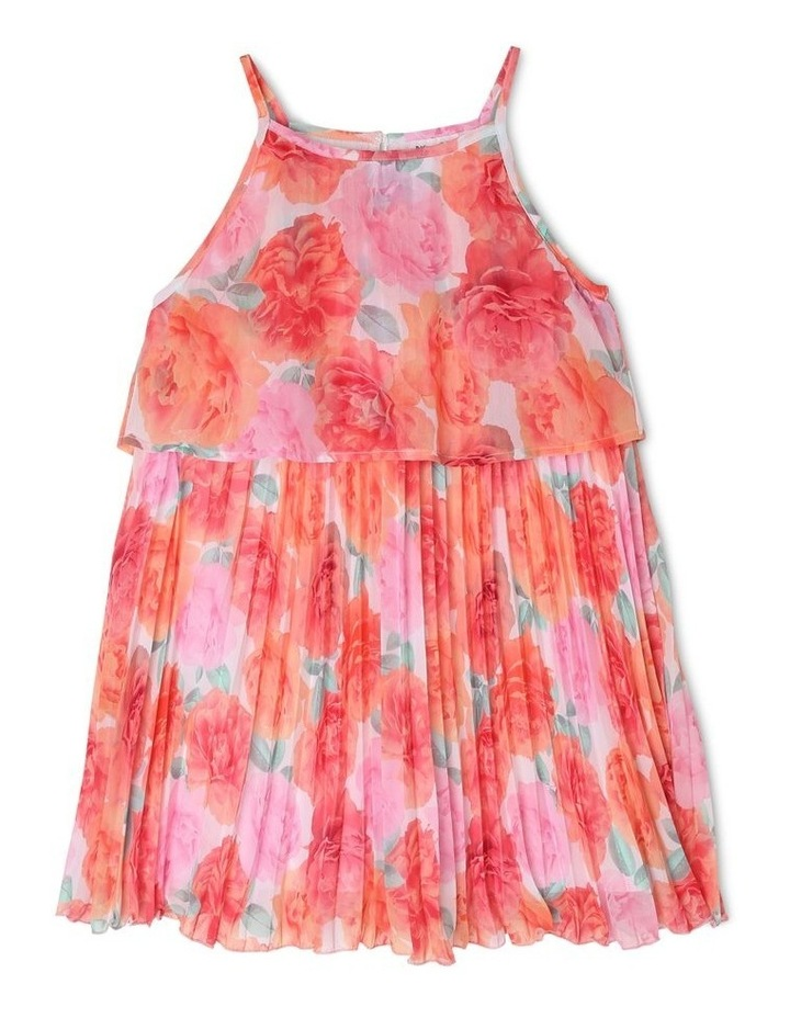 Chiffon Overlay Shift Dress with Pleated Bodice - Coral Floral image 1