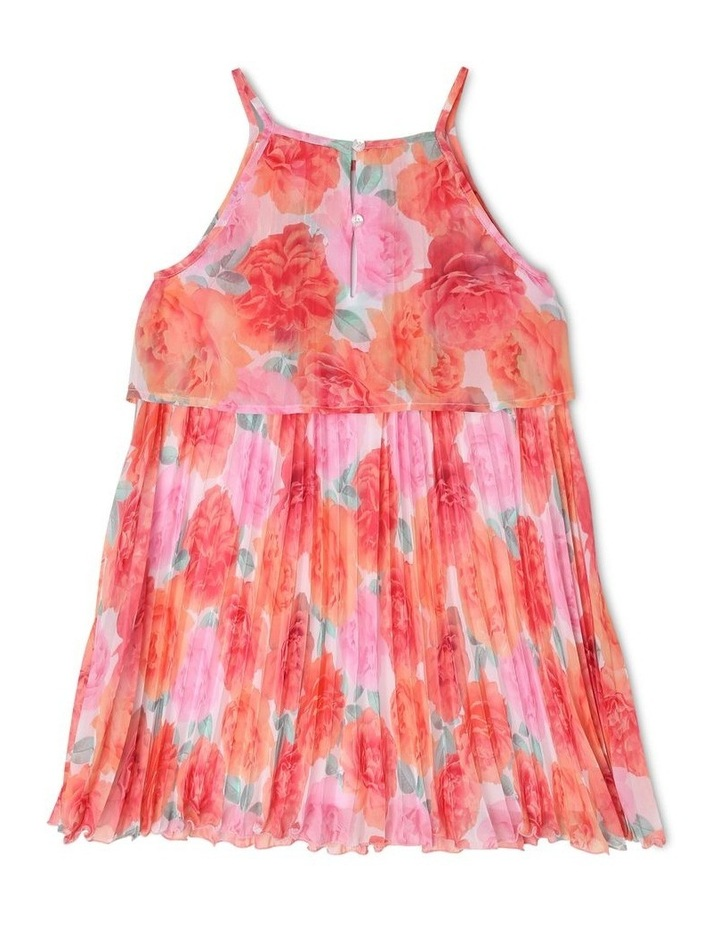 Chiffon Overlay Shift Dress with Pleated Bodice - Coral Floral image 2