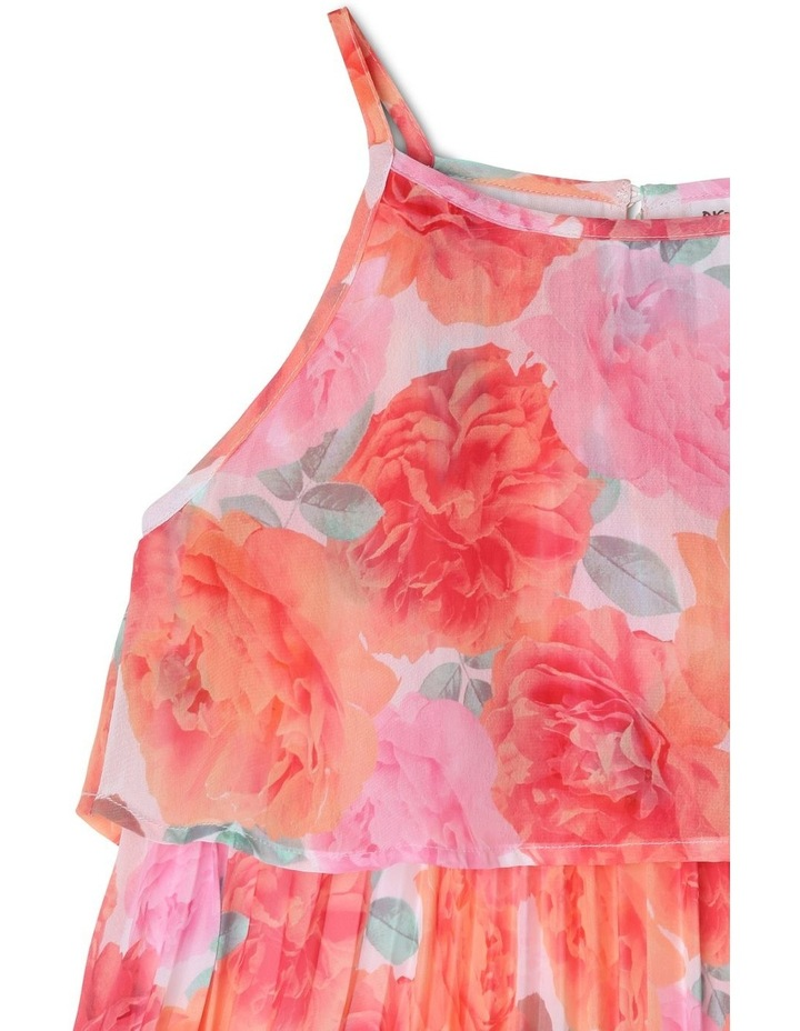Chiffon Overlay Shift Dress with Pleated Bodice - Coral Floral image 3