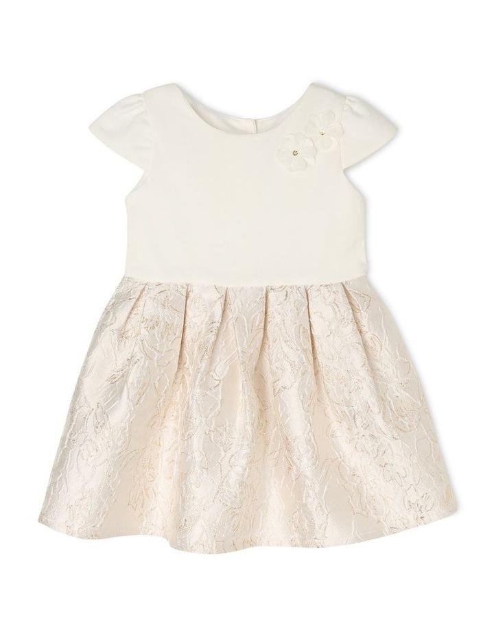 Joy Ponti Dress with Jacquard Skirt - Gold/Ivory image 1