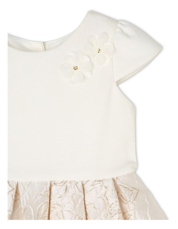 Joy Ponti Dress with Jacquard Skirt - Gold/Ivory image 2