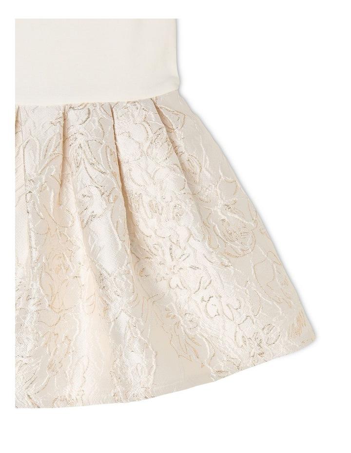 Joy Ponti Dress with Jacquard Skirt - Gold/Ivory image 3