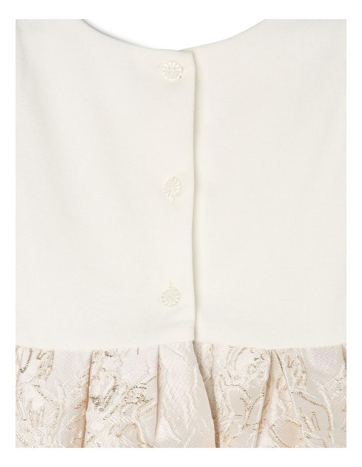 Joy Ponti Dress with Jacquard Skirt - Gold/Ivory image 4