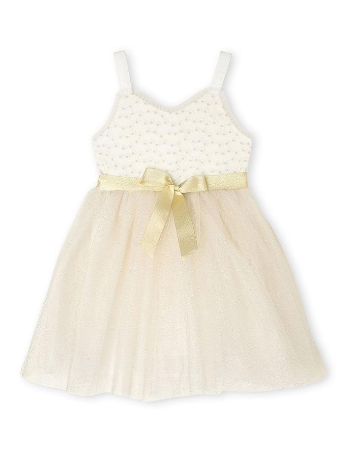 Daisy Sleeveless Sweetheart Bodice Tutu Dress - Ivory & Gold image 1
