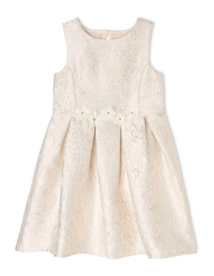 Clarabell Jacquard Pleat Dress - Gold/Ivory image 1