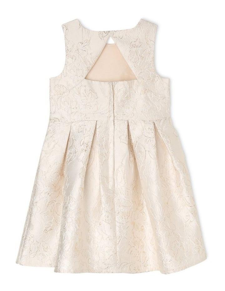 Clarabell Jacquard Pleat Dress - Gold/Ivory image 2
