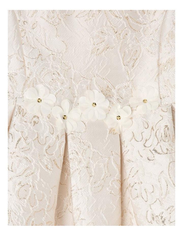 Clarabell Jacquard Pleat Dress - Gold/Ivory image 3