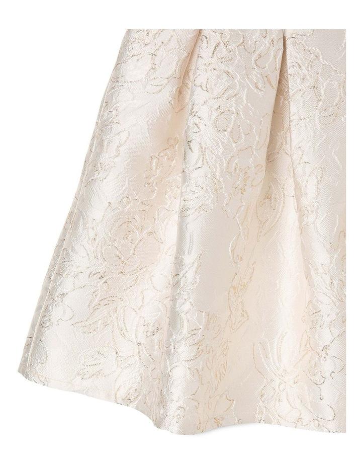 Clarabell Jacquard Pleat Dress - Gold/Ivory image 4