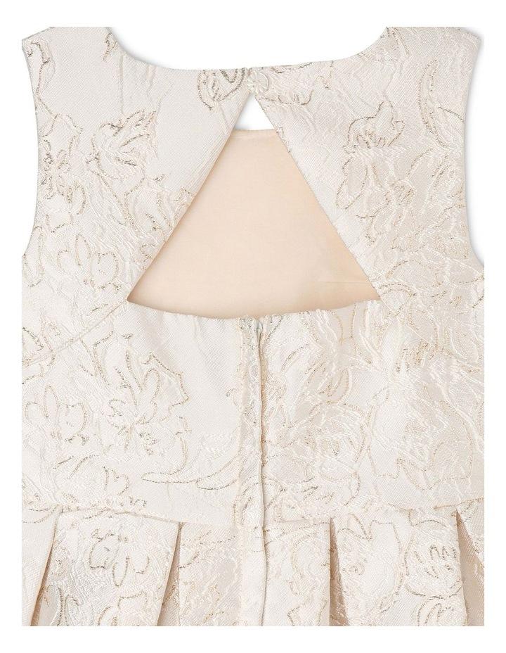 Clarabell Jacquard Pleat Dress - Gold/Ivory image 5