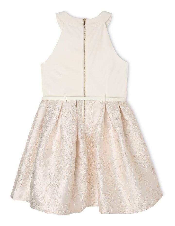Joy Ponti Halter Dress with Jacquard Skirt - Gold/Ivory image 2