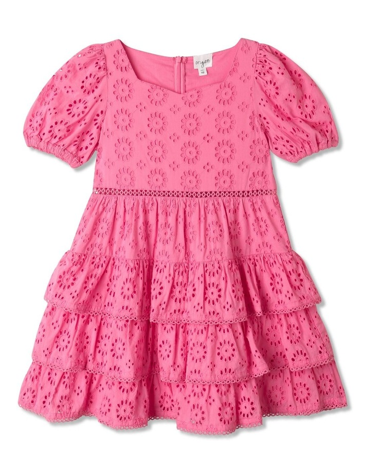 Jessica Woven Broderie Puff Sleeve Dress (Size 1-8) image 1