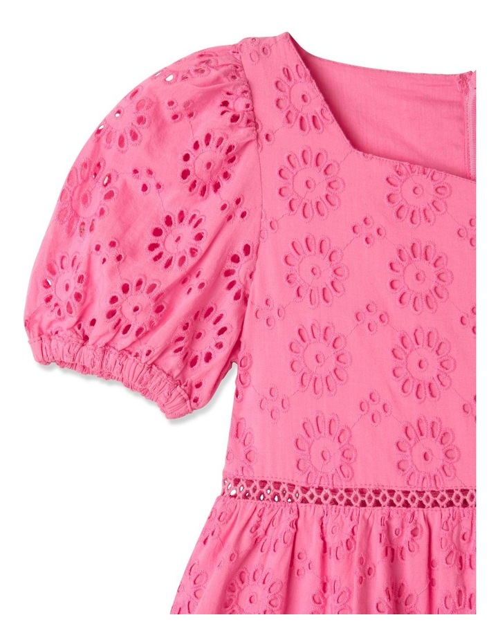 Jessica Woven Broderie Puff Sleeve Dress (Size 1-8) image 2