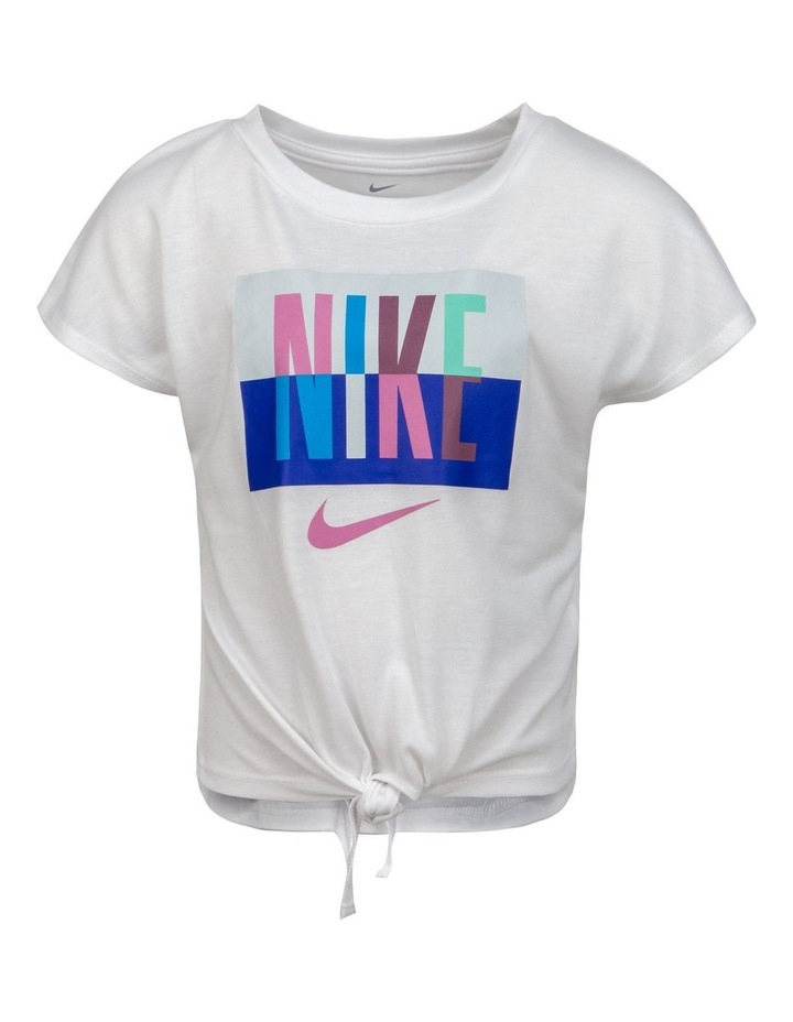 NIKE SPLIT MULTI COLOR S/S TIE-FRONT TOP image 1