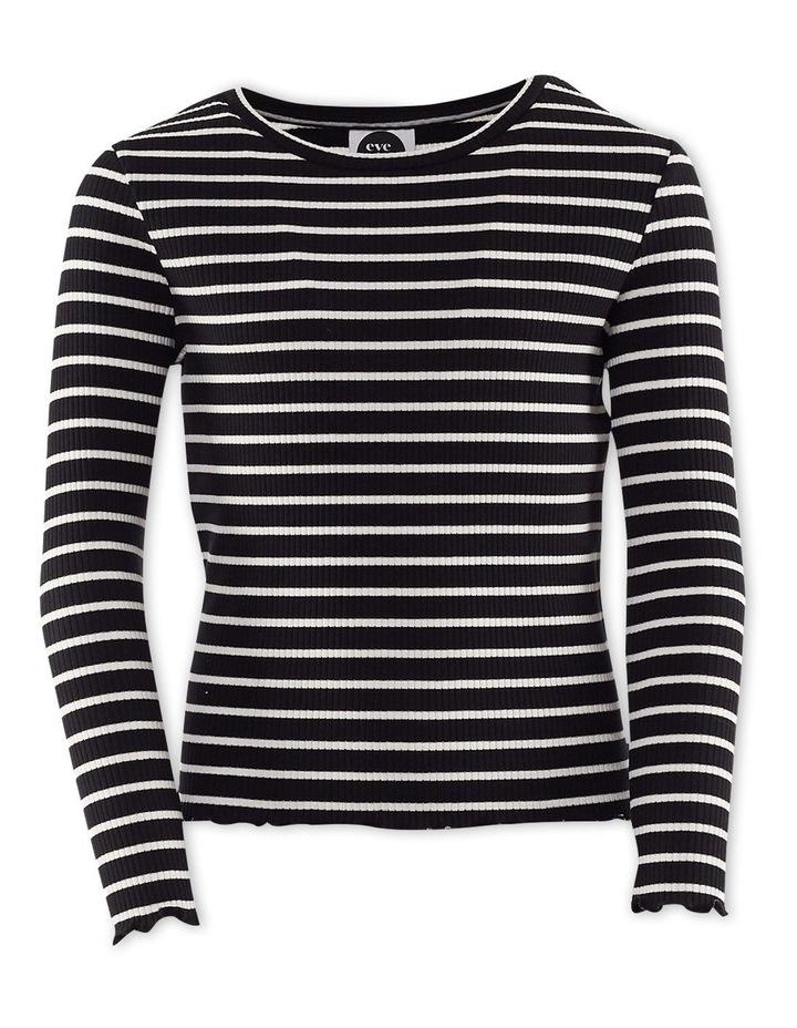 Mickey Stripe Rib Tee Black/White image 1