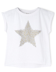 Star Placement Print Tee - White