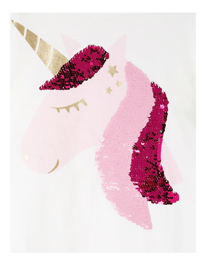 Vanilla Sequin Unicorn Drop Shoulder Frill Sleeve Tee image 2