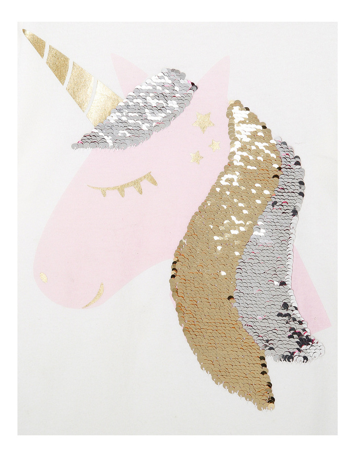 Vanilla Sequin Unicorn Drop Shoulder Frill Sleeve Tee image 3