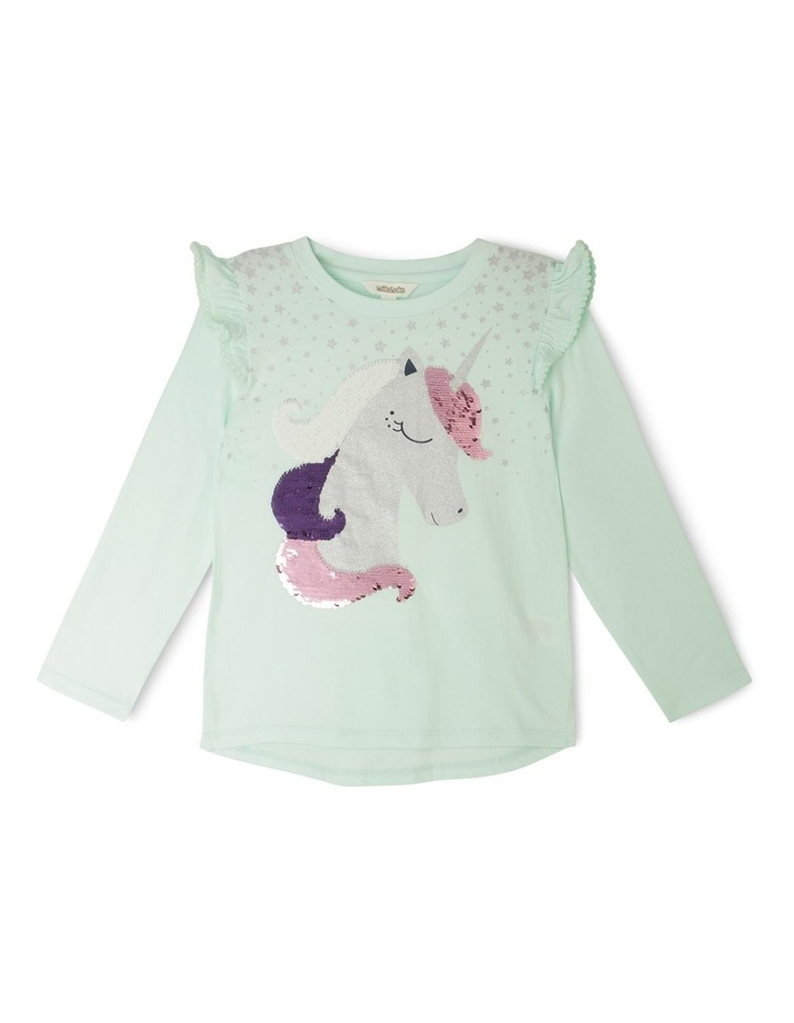 Knit Long Sleeve Tee with Frill image 1