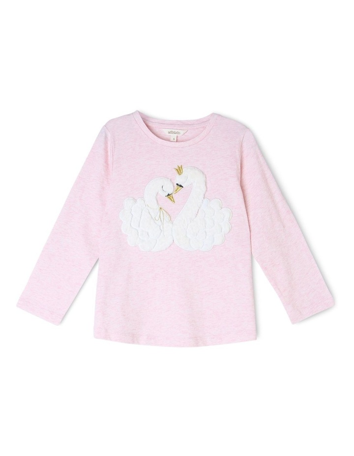Long Sleeve Knit Top with Fur Applique image 1