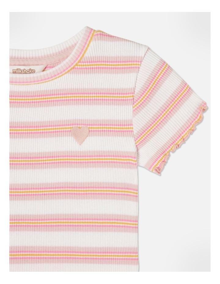Knit Rib Stripe T-Shirt Pink image 2