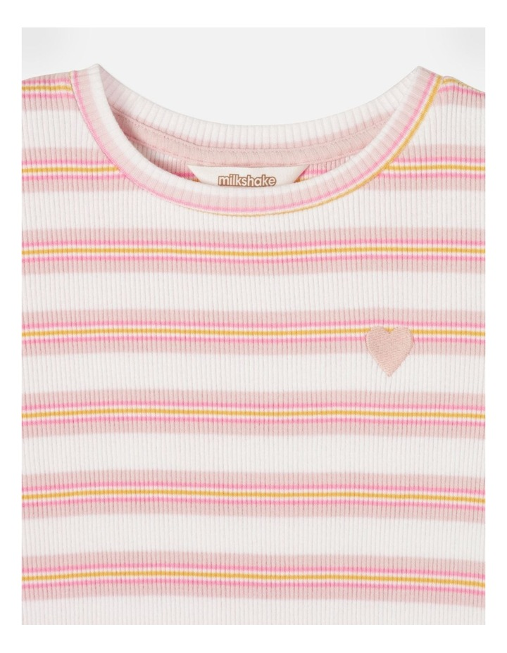 Knit Rib Stripe T-Shirt Pink image 3