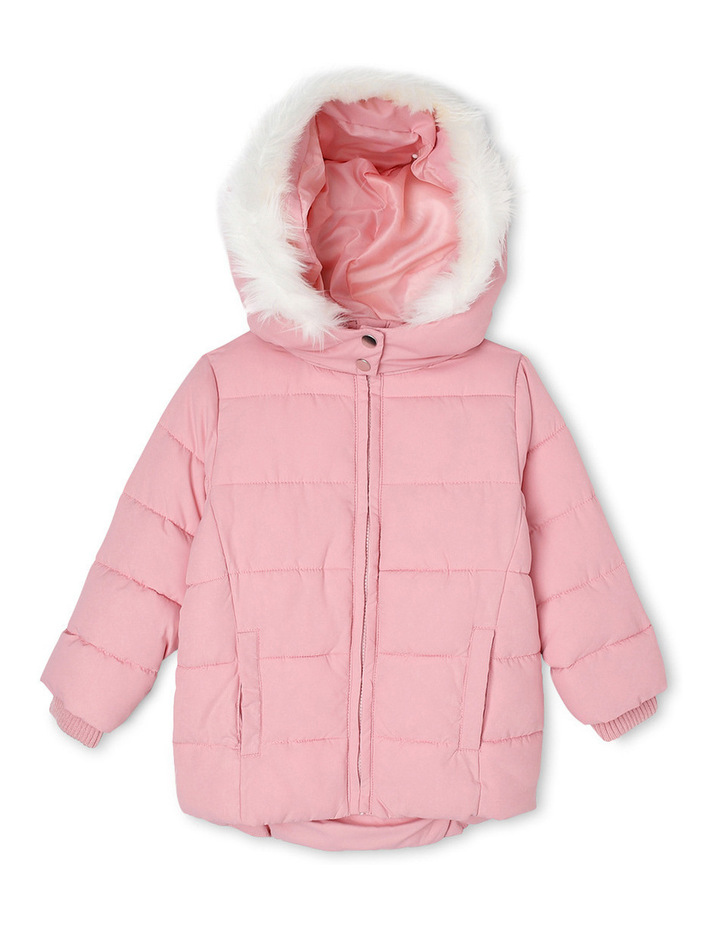 Puffer Jacket with Fur Trim Hood. Coral Blush. image 1