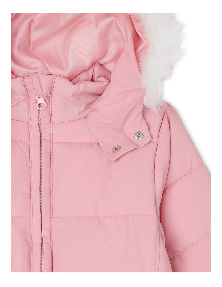 Puffer Jacket with Fur Trim Hood. Coral Blush. image 3