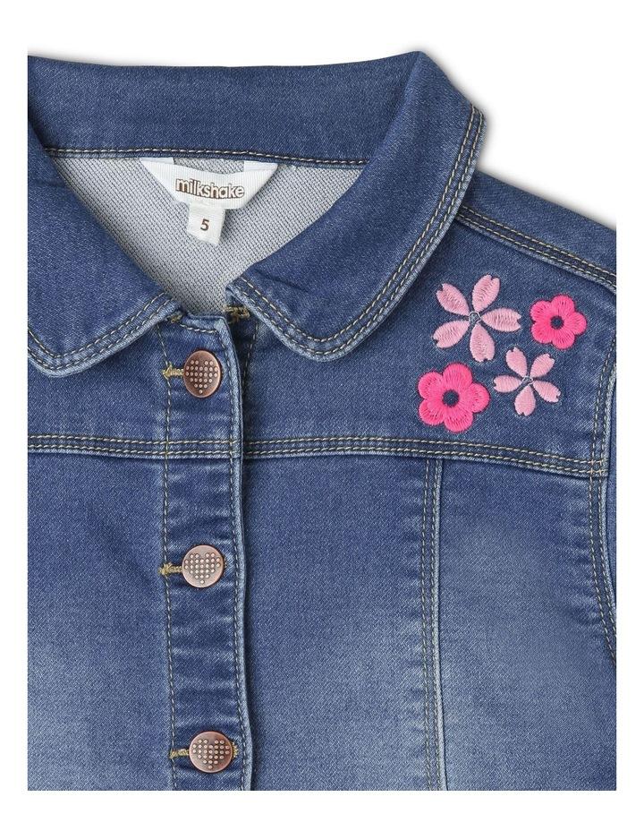 Denim Jacket with Embroidery & Peplum Frill image 2