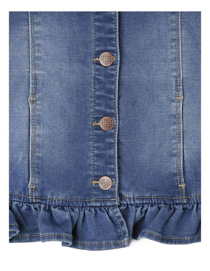Denim Jacket with Embroidery & Peplum Frill image 3