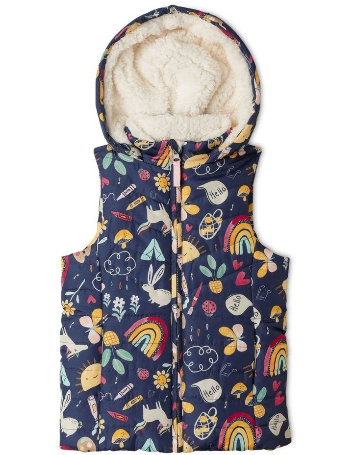 Puffa Vest With Hood And Sherpa Lining image 1