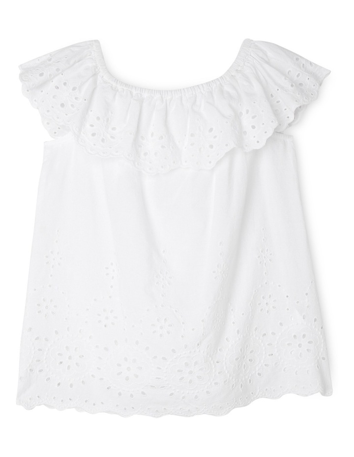 Broderie Frill Neck Top - White image 1