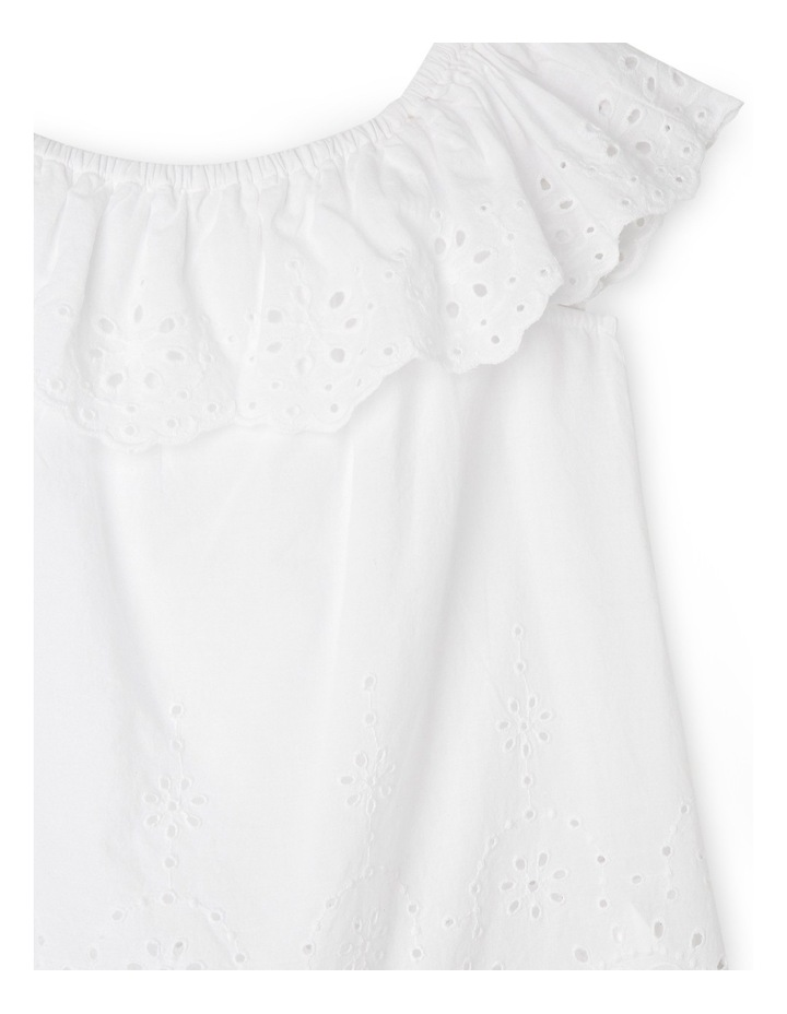 Broderie Frill Neck Top - White image 2