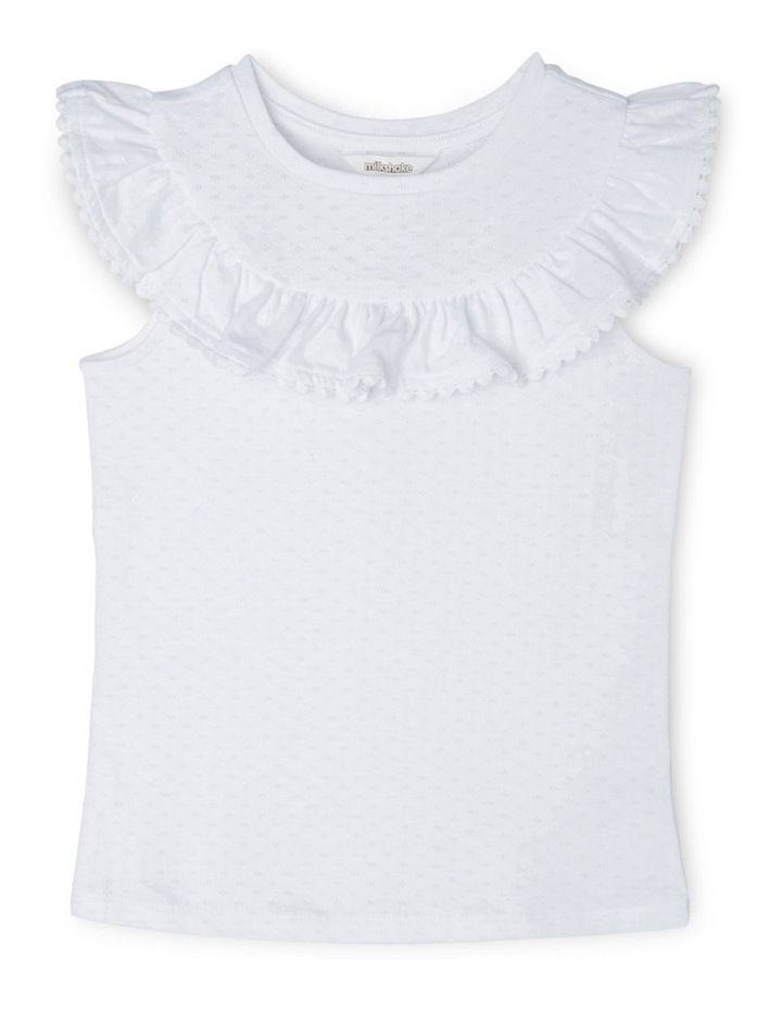 Knit Pointelle Top With Frill image 1
