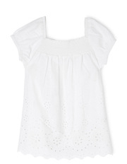 Woven Broderie Peasant Top
