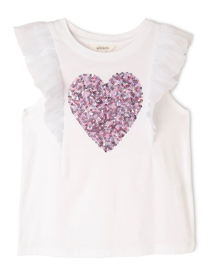 Chiffon Knit Tee with Sequin Heart image 1