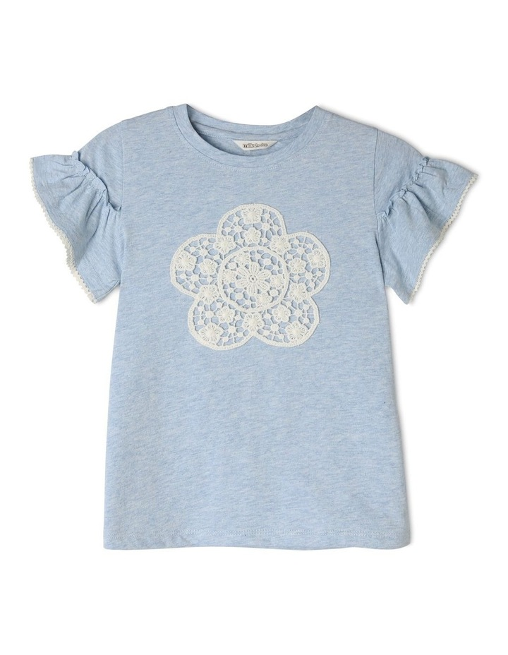 Knit Tee with Crochet Daisy Flower image 1