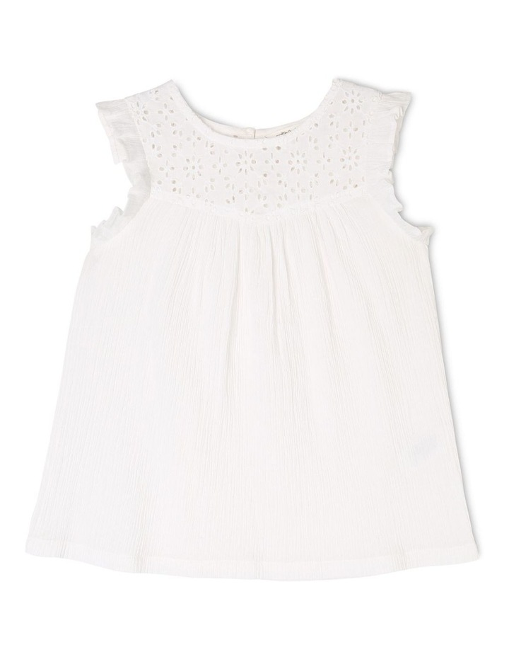 Woven Broderie Frill Sleeve Top image 1