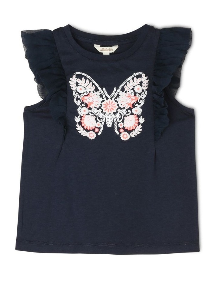 Chiffon Sleeve T-Shirt with Butterfly Detail image 1