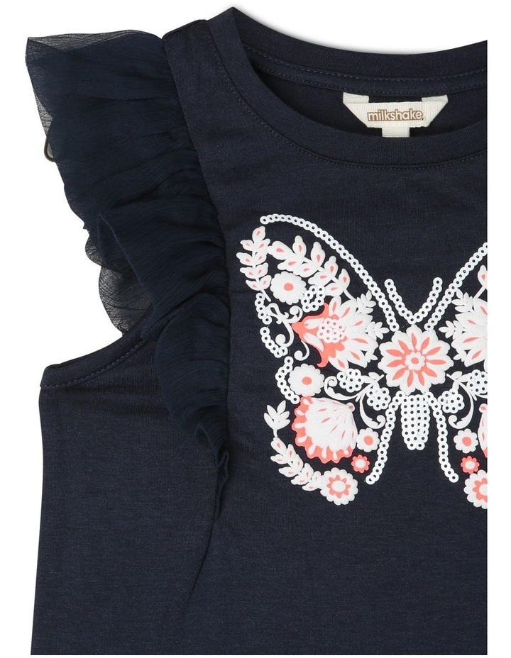 Chiffon Sleeve T-Shirt with Butterfly Detail image 2