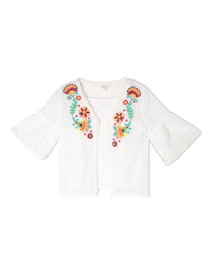 Woven Bolero & Knit Singlet Set with Embroidery - White image 1