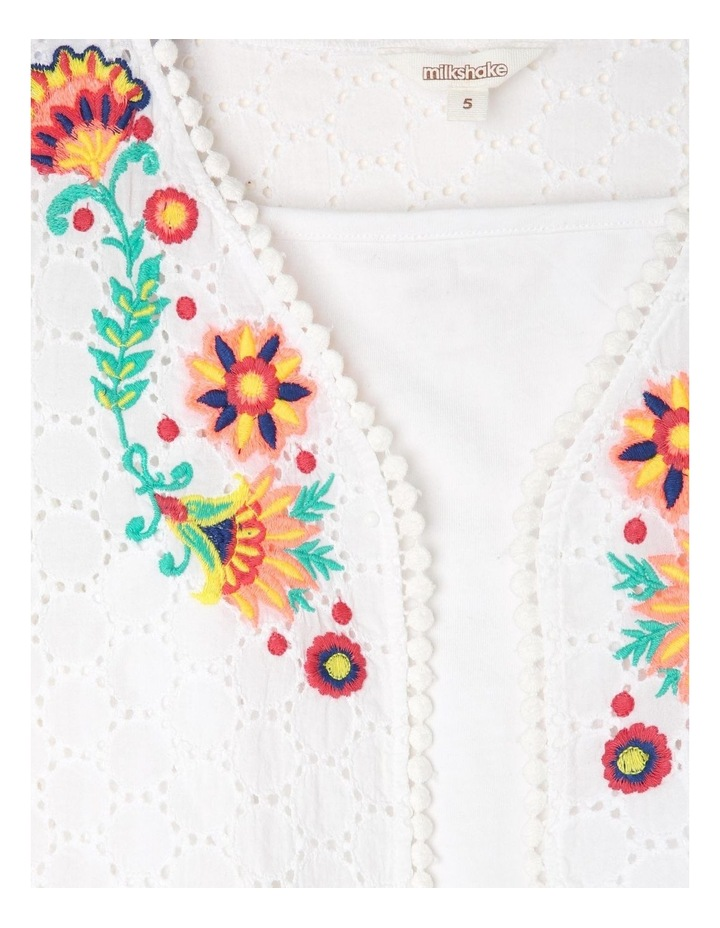 Woven Bolero & Knit Singlet Set with Embroidery - White image 2