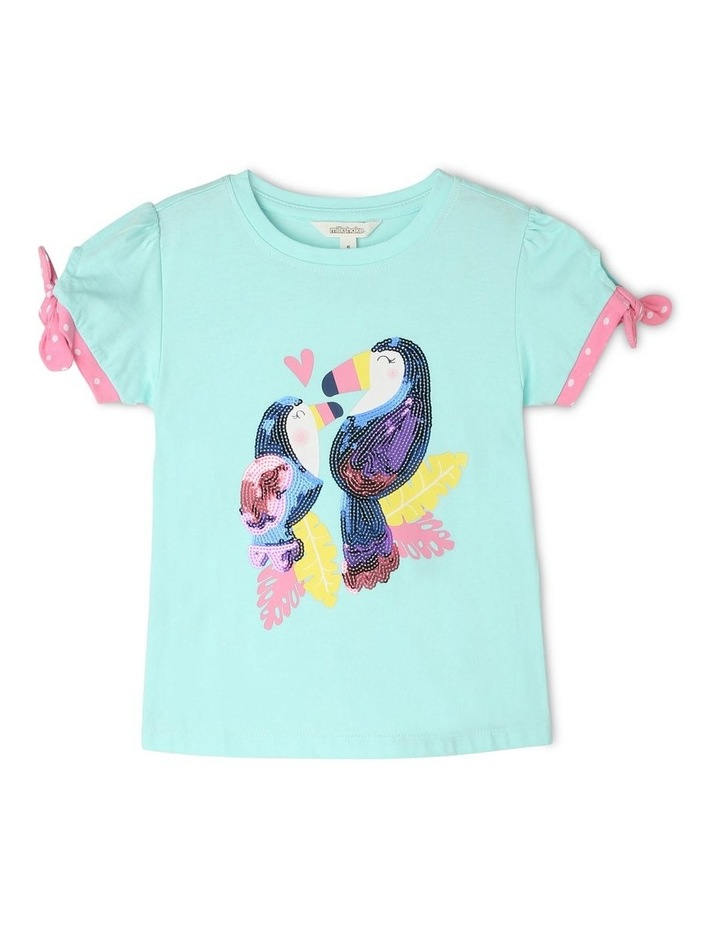 Knitted T-Shirt with Spotted Cuffs - Toucan image 1