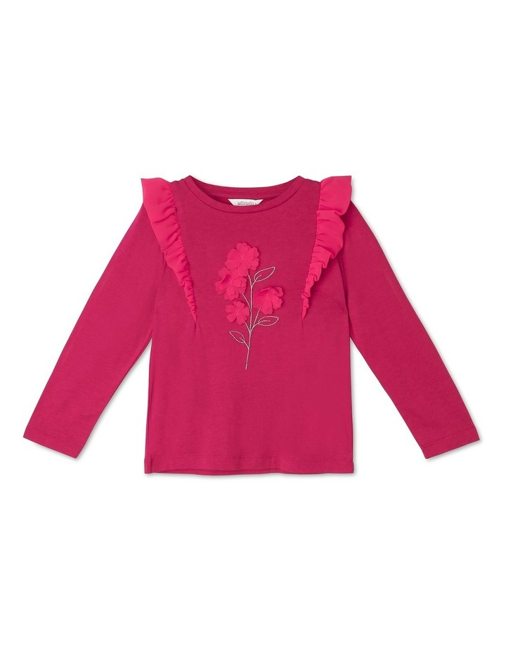 Long-Sleeve Knit Top with Chiffon Frill image 1