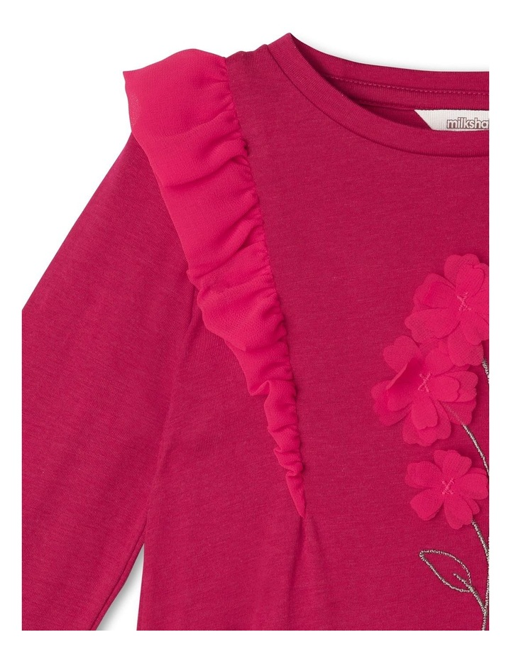 Long-Sleeve Knit Top with Chiffon Frill image 2