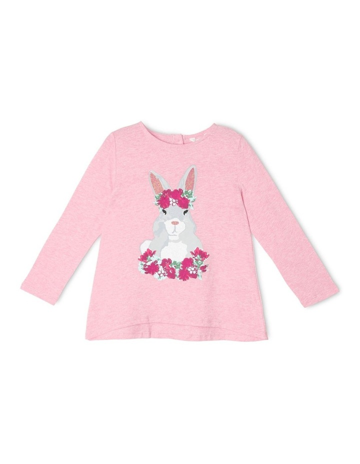 Knit Swing Top with Bunny Print image 1