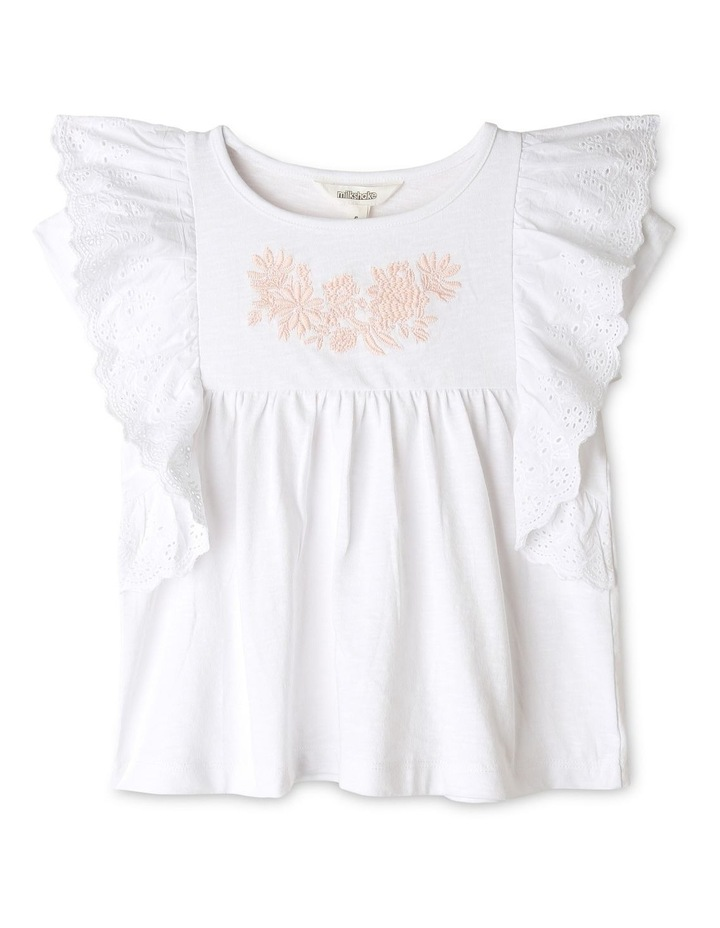 Broderie Knit Top with Frill Trim image 1